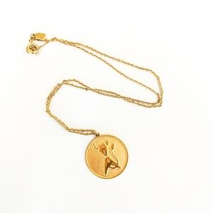 Vintage Gold Tone Taurus Pendant Necklace